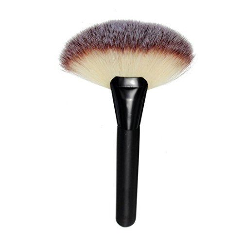 Kabuki Brush, BSGSH Fan-Shaped Foundation Blending Blush Face Powder Brush Makeup Brush (Black)
