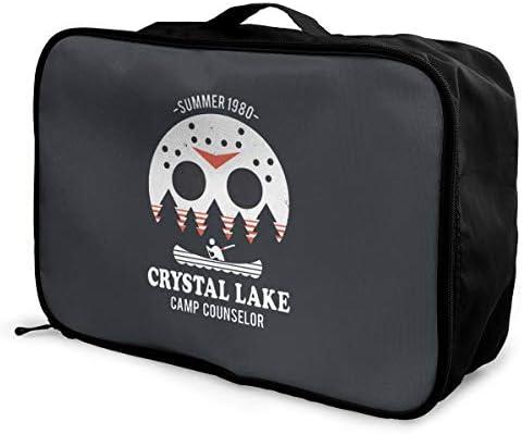 アレンジケース Crystal Lake 旅行用トロリーバッグ 旅行用サブバッグ 軽量 ポータブル荷物バッグ 衣類収納ケース キャリーオンバッグ 旅行圧縮バッグ キャリーケース 固定 出張パッキング 大容量 トラベルバッグ ボストンバッグ