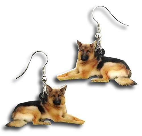 - Pashal German Shepherd Dog Hard Acrylic Charm Earrings (Earrings)
