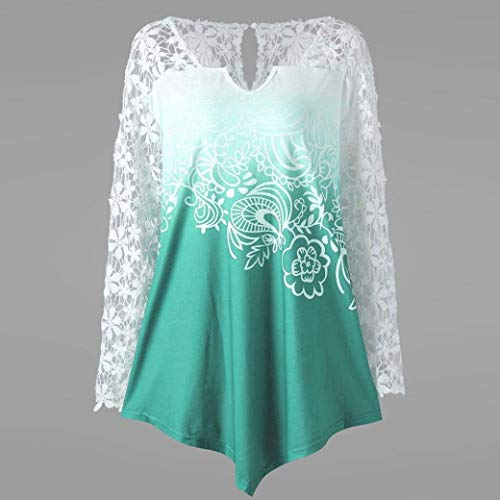V T Longues Up Gr Fleurs Shirt Vintage Tops Pin Chic Manches Femme Tee Chemisiers Dentelle Cou Et Mode Elgante Imprimer pissure Haut Costume Chic Chemise Shirt RaFnW0