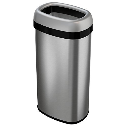 iTouchless 16 Gallon Dual-Deodorizer Oval Open Top Trash Can, Commercial Grade Stainless Steel, 60 Liter Open Garbage Can