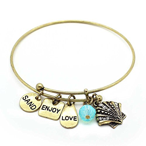 Bangles Shell Bangle (KIS-Jewelry Symbology 'Shell' Bangle Bracelet, Brass Plated - Expandable Wire Charm Bracelet Accented with Crystal Stones and One Shiny Glass Bead - Perfect Jewelry for Fashion)