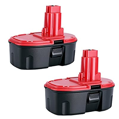 Biswaye 2 Pack DC9096 Replacement Battery 18V 3000mAh for Dewalt 18-Volt Cordless Power Tools Battery Pack DE9096 DE9098 DW9095 DW9096 DW9098 DE9503 DC9099 DC9098 DE9039 DE9095, Ni-CD