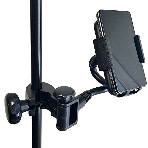 AccessoryBasics Music Mic Microphone Stand Smartphone Mount w/Multi Angle 360° Swivel Adjust Holder for Apple iPhone X 8 7 6s Plus Samsung Galaxy S7 S8 S9 Note Google Pixel XL LG V30 phones (Mic Accessories)