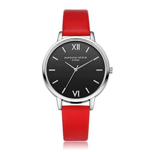 Watches,BCDshop New Female Fashion Elegant Temperament Leather Belt With Simulated Quartz Round Watch (Red, alloy) (Leather Belt Simulated)