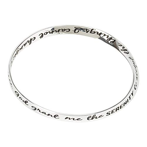 Dicksons Courage Wisdom Serenity Prayer Women's One Size Silver-Plated Wide Mobius Twist Bracelet (The Complete Serenity Prayer By Reinhold Niebuhr)