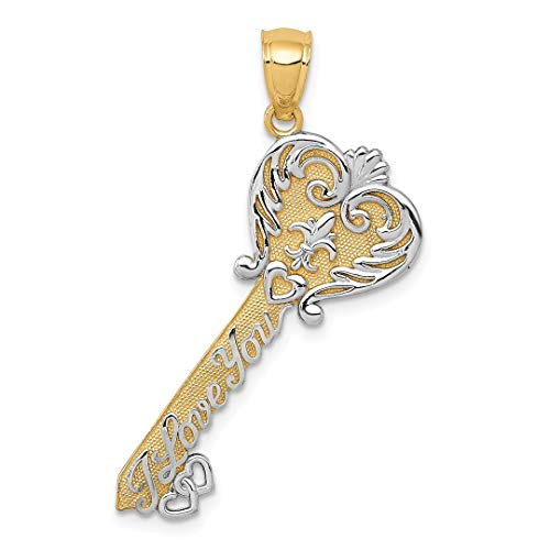 14k Yellow Gold I Love You Key Pendant Charm Necklace Fine Jewelry For Women Gift Set