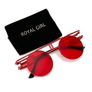 ROYAL GIRL Round Retro Gothic Steampunk Sunglasses Women Men Circle Lens Metal Frame