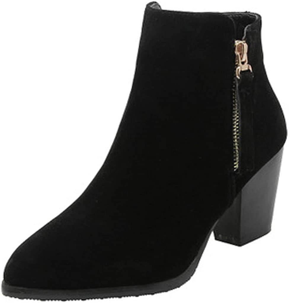 Ankle Booties for Women Winter Shoes for Ladies Fashion Comfortable Chunky Heel Non-Slip Shoe Snow Boots