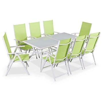 Salon de Jardin en Aluminium et textilène - Naevia - Blanc, Vert Pomme - 8  Places - 1 Grande Table rectangulaire, 8 fauteuils Pliables