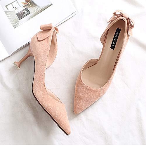 Mujeres alto Pink De Y Rosas Las zapatos Pequeño Yukun Zapatos de Altos Frescos Salvaje Chica De tacón Lado Vacíos Estilete Otoño Zapatos Gato Zapatos Tacones zftSw6xqSn