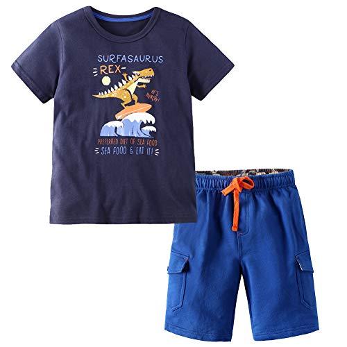 (Frogwill Toddler Boys Dinosaur T-Rex Shorts Set Outfits Summer Cloths 2 Pieces 5t, Navy)