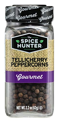 The Spice Hunter Peppercorns, Black, Tellicherry, Whole, 2.2-Ounce Jar