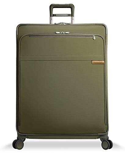 Briggs & Riley Baseline Softside Checked Extra Large Spinner Luggage 32 inch. Expandable Suitcase with Wheels and Compression Packing System, Olive