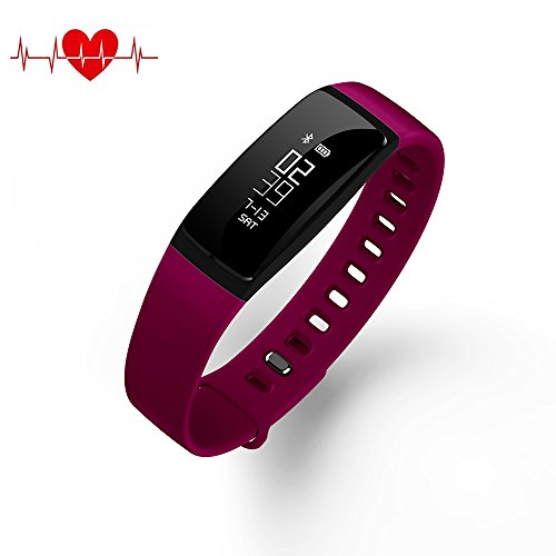 QQPOW Fitness Tracker Bluetooth 4.0 Blood Pressure Heart Rate Monitor Sleep Monitor...
