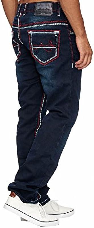 Amica MEGASTYL męskie dżinsy Basic Streetwear grube szwy Regular Fit: Odzież