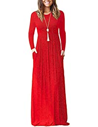 Women's Long Sleeve Loose Plain Maxi Dresses Casual Long Dresses Pockets