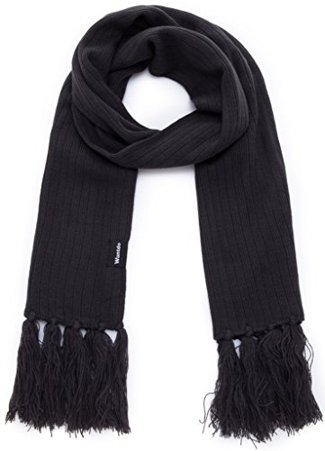 Wantdo Unisex Chunky Knit Scarf Solid Color Christmas Gift with Tassel Anthracite