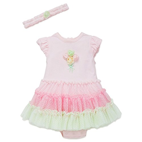 Little Me Flower One Piece Tutu Popover Dress with Headband Pink 9 ()