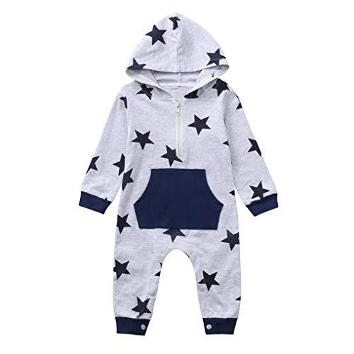 Newborn Autumn Plaid Star Jumpsuit,Jchen(TM) Infant Toddler Baby Boys Girls Long Sleeve Hoodie Pocket Zipper Romper Jumpsuit for 0-24 Months (Age: 0-6 Months, Gray) by Jchen Baby Sets