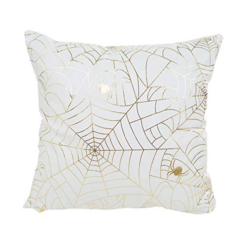 Halloween Pillowcase Dress Patterns (Cher9 Happy Halloween Gold Stamping Print Throw Pillow Case Spider Net Bat Witch Hat Patterns Festival Party Decorative Cushion Cover Boost The Festival)