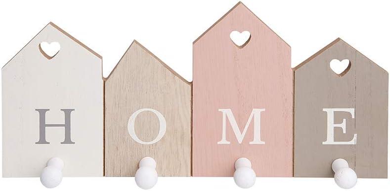 Complemento d/'arredo Moderno per la casa 4 Ganci, Home Alices Collection Appendiabiti e Portachiavi in Legno con Ganci Attaccapanni da Parete per Capi Pesanti