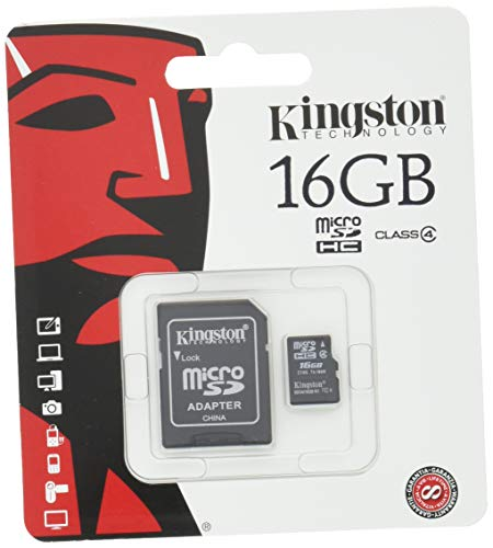 Kingston 16 GB Class 4 MicroSDHC Flash Card with SD Adapter SDC4/16GB -