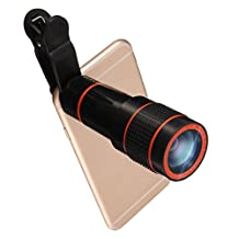 Phone Camera Lens Kit, Hizek 12X Universal Optical Zoom Lens Marco Lens Focus Telescope Camera Lens with Universal Clip for iphone 7/7 plus/6s/6/6 Plus/6s Plus /5s/ Samsung Galaxy S8/S8 Plus/S7/S7e/S6/S5/Note 5