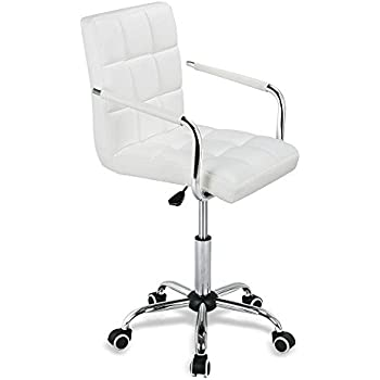 Yaheetech Modern PU Leather Midback Adjustable Executive Office Chair White