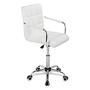 Yaheetech Modern PU Leather Midback Adjustable Executive Office Chair-White
