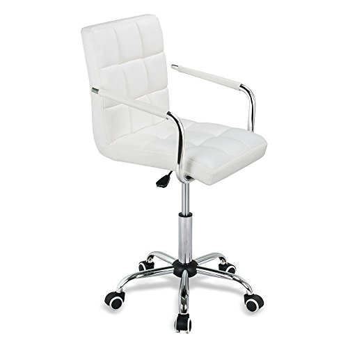 Yaheetech Modern White Faux Leather Bar Stool Gas-lift Swivel Pub Chair Barstool on Wheels by Yaheetech