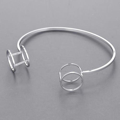 - Silver Open Double Circular End Design Elegant Simple Bangle Bracelet