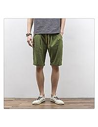 WeiYin Men's Summer Causal Linen Elastic Waist Short