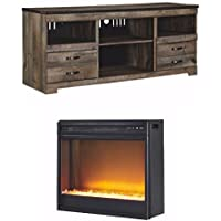 Ashley Furniture Signature Design - Trinell Entertainment TV Stand with Contemporary Stone Fireplace Unit Included - Dark Brown