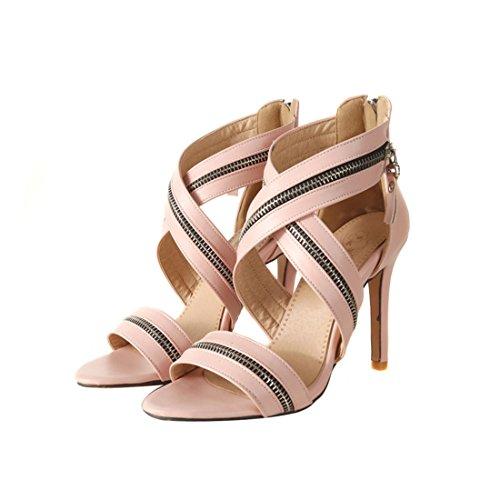 Damas Sandalias, Cremalleras, Sandalias, Sexy Zapatos de Tacon Alto, Sandalias, Sandalias de Ahuecado. Pink