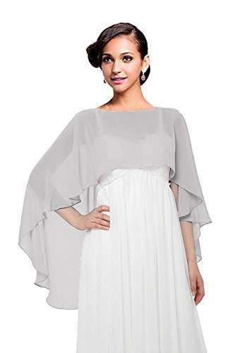 Wedding Capes Womens Soft Chiffon Shrug Bridal Long Shawl and Wraps by Baiqiya