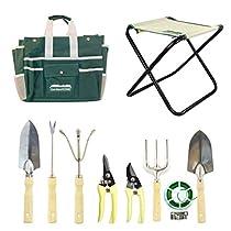 Garden Tool Set Includes Folding Stool