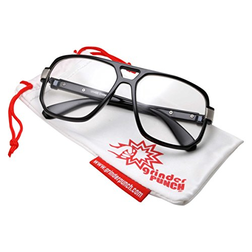 [grinderPUNCH Classic Square Frame Glasses - Clear Lens - Vintage Flat Top - Black And Silver Frame] (70s Plastic Halloween Costumes)