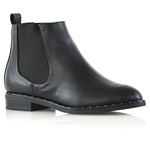 ESSEX GLAM Womens Studden Cuban Heel Black Synthetic Leather Ankle Boots Ladies Biker Pull On Chelsea Shoes 6 B(M) US