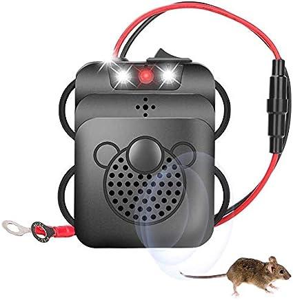 Guiseapue Ultrasónico Repelente de Roedores del Ratón Pest Ahuyentador para Coche, Ultrasonido Frecuencia de Cambio Contra Martas, Función de Luz LED Conexión a Batería de Coche de 12 V
