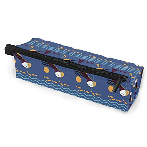 Puffin+Pattern+(Website) Pencil Case Big Capacity Zipper Pen Pencil Pouch Students Stationery Cosmetic Makeup Bag for School Office