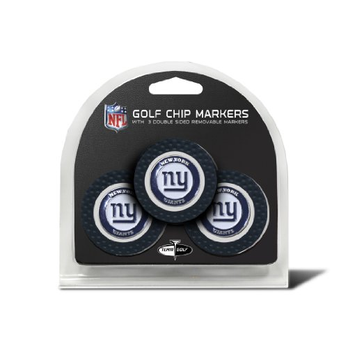 Team Golf NFL New York Giants Golf Chip Ball Markers (3 Count), Poker Chip Size with Pop Out Smaller Double-Sided Enamel Markers