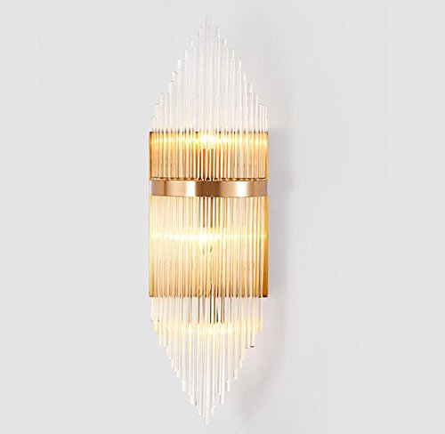 Iron Led Simple Bedroom Wall Lamp Restaurant Creative Crystal Nordic Living Room Study Bedside Lamps (180 550 320Mm) by DMMSS