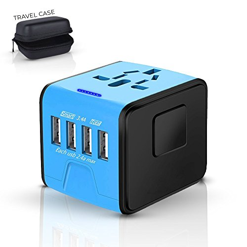 Universal Travel Adapter, International All in One Multi-Nation Worldwide 4-USB Power Charger – Travel to USA Europe…