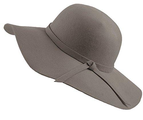 (Urban CoCo Women's Foldable Wide Brim Felt Bowler Fedora Floopy Wool Hat (Gray))
