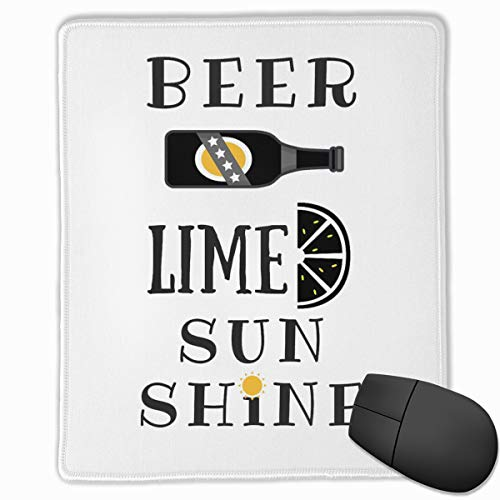 - Kjiurhfyheuij Portable Gaming Mouse Pad Beer Lime Sunshine Comfortable Non-Slip Base Durable Stitched Edges for Laptop Computer & PC 7.08 X 8.66 Inch, 3mm Thick