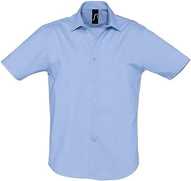 SOLS - Camisa Oxford de Manga Corta para Trabajar Modelo Brisbane Hombre Caballero - Trabajo/Fiesta/Verano: Amazon.es: Ropa y accesorios