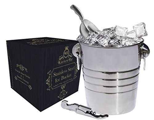 Kitchen Bar Premium Stainless Steel Silver Ice Bucket - 3.5 Liter (4qt) Large Beer, Wine Bucket With Scoop, Fingerprint Off for Party Events Gatherings Gift ServerWare Tray Barware by Kitchen Bar
