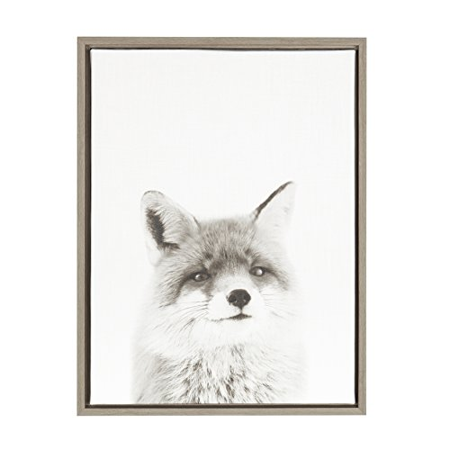 - Kate and Laurel Sylvie Fox Black and White Portrait Framed Canvas Wall Art by Simon Te Tai, Gray 18x24