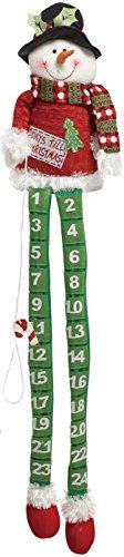 One Holiday Lane Plush Fabric Long Leg Snowman or Santa Christmas Advent Calendar Countdown Calendar - Tabletop Christmas Countdown with Candy Cane Marker ()